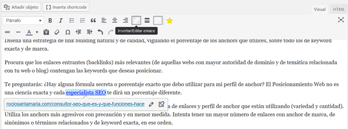 anchor text wordpress